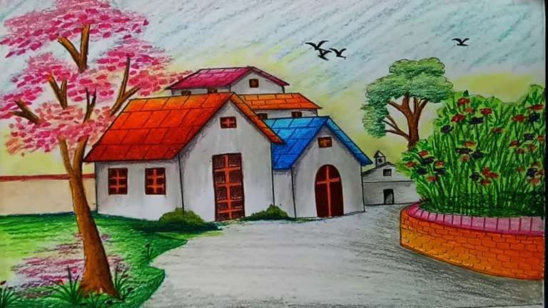 17 Landscape Scenery Drawingbeautiful Nature Landscape Scenery Drawing Landscape Nature Scenery Drawing Landscape Scenery Draw Drawing Scenery Scenery Paintings Pastel Landscape