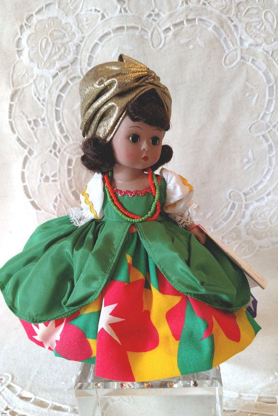 Madam Alexander International 8 Spanish Doll Brazil #530 Restrung, Box & Wrist Tag #spanishdolls