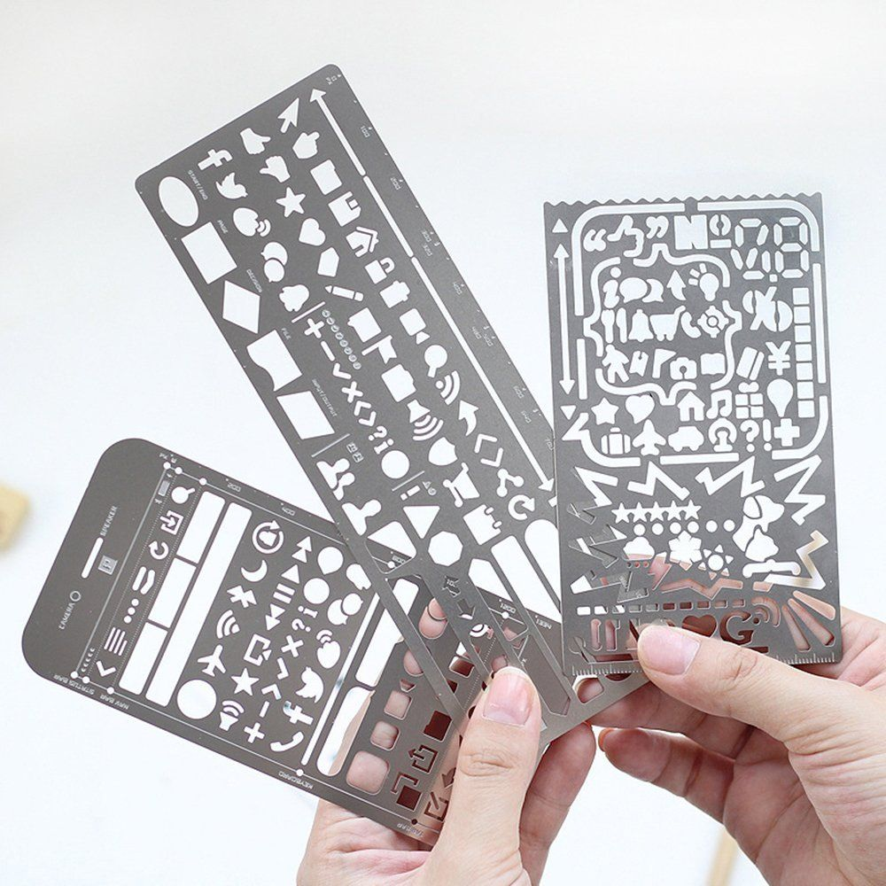 3 Stuck Edelstahl Multifunktionale Zeichnungsvorlage Tragbare
