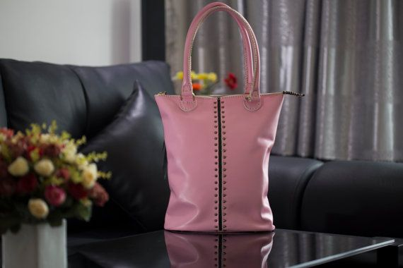 Pink Leather Tote Bag  by Luton for women by LutonBags on Etsy  https://www.etsy.com/listing/207090110/pink-leather-tote-bag-by-luton-for-women?ref=listing-shop-header-2