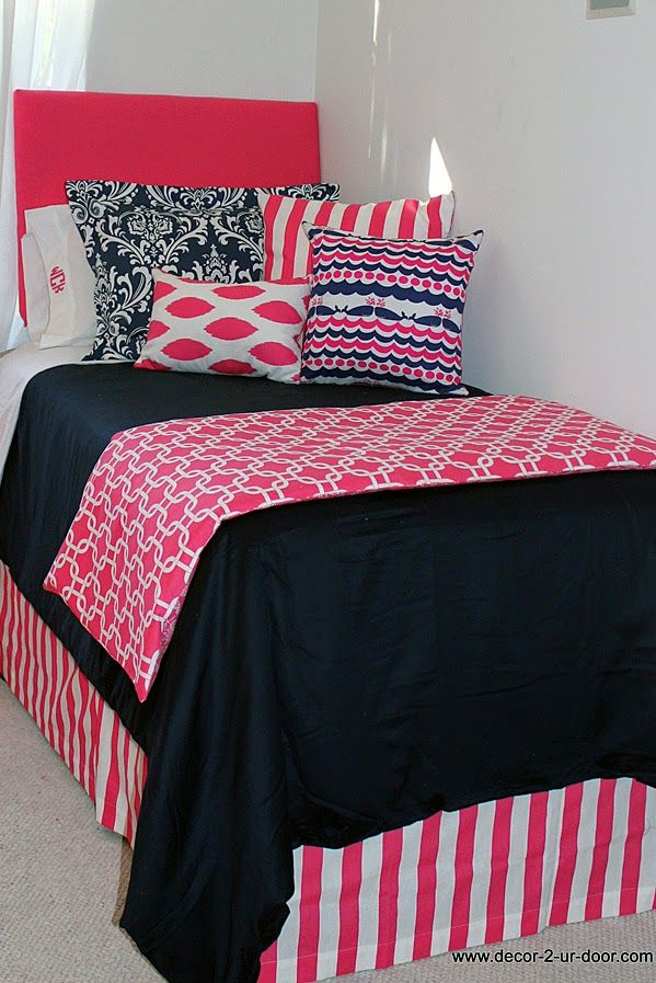 Nautical Navy U0026 Preppy Pink Designer Teen U0026 Dorm Bed In A Bag