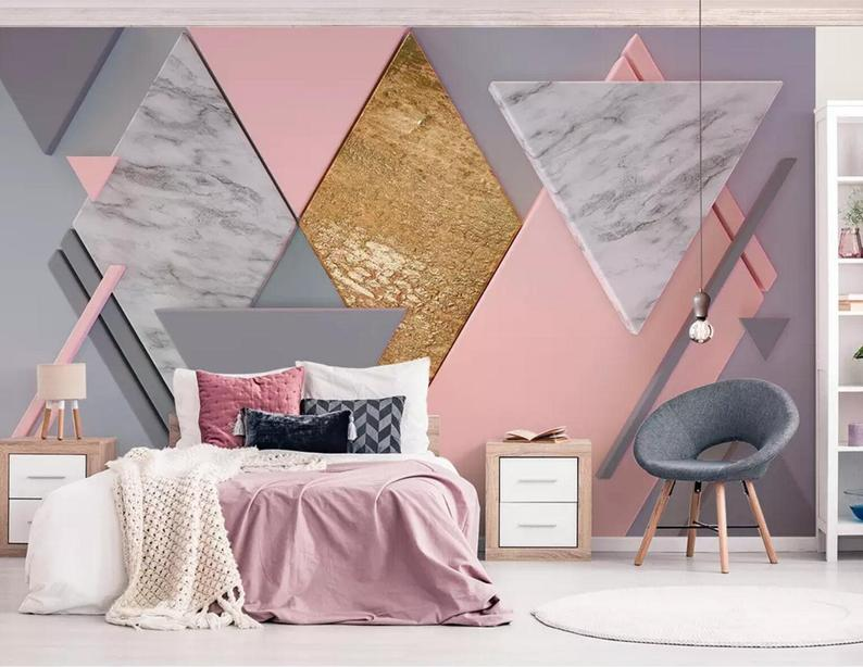 3d Abstract Graphics Marble Grain Pink Graphics Wallpaper Removable Self Adhesive Wallpaper Wall Mural Vintage Art Peel And Stick Custom Photo Wallpaper Home Decor Self Adhesive Wallpaper