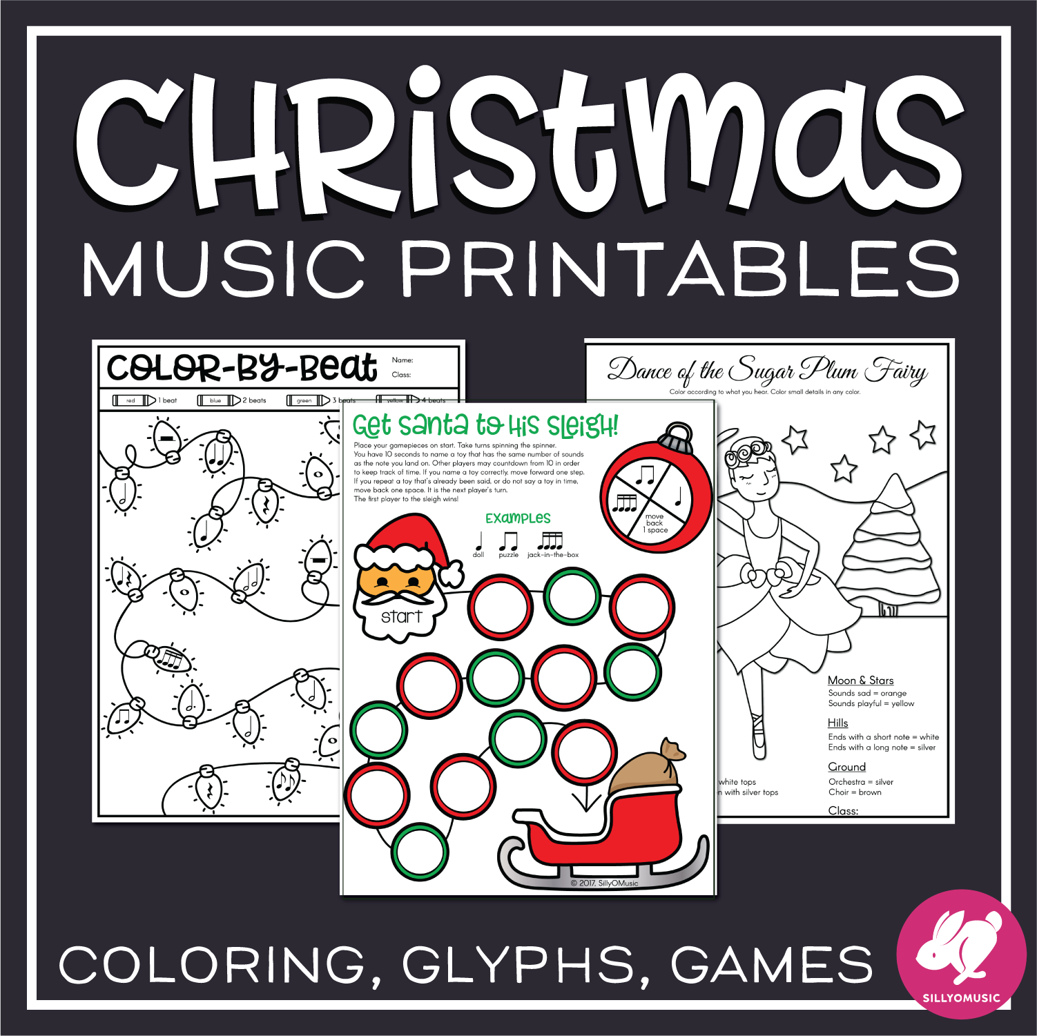 Christmas Music Worksheets Amp Coloring From Sillyomusic