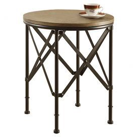 """The perfect canvas for a vase of bright blooms or favorite family photo, this open metal end table features x-shaped panels and a wood top for a touch of industrial inspiration.  Product: End tableConstruction Material: Metal and oak veneerColor: BronzeFeatures: X-shaped panelsDimensions: 23.5"""" H x 20"""" Diameter"""