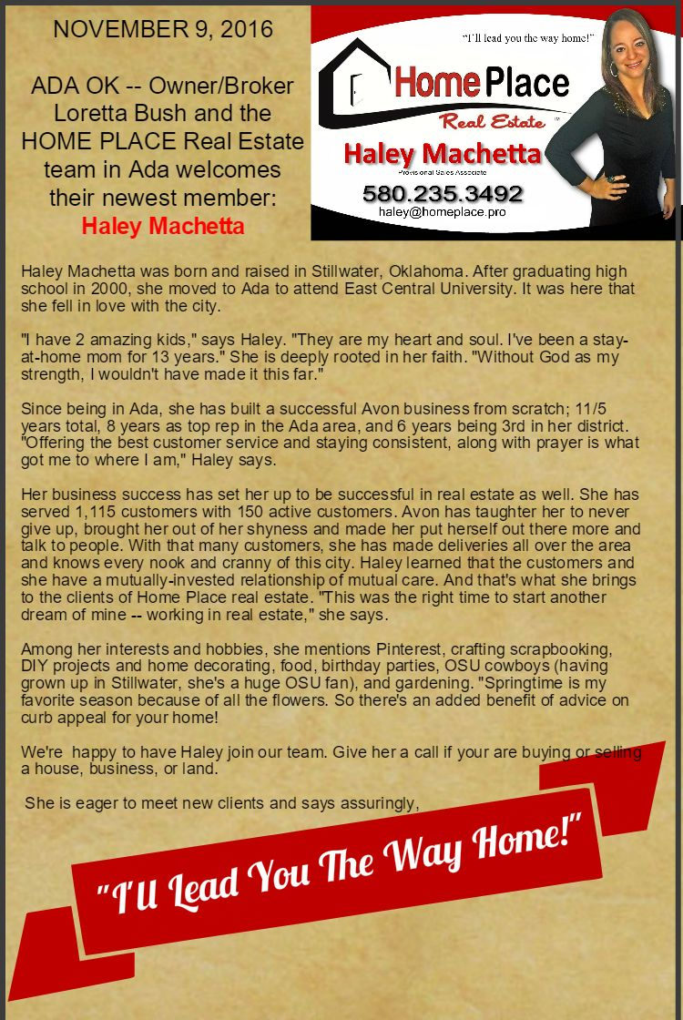Owner Broker Loretta Bush And The Home Place Real Estate Team In Ada Welcome Their Newest Member Haley Machetta Business Plan Template Real Estate Loretta Real estate agent bio template