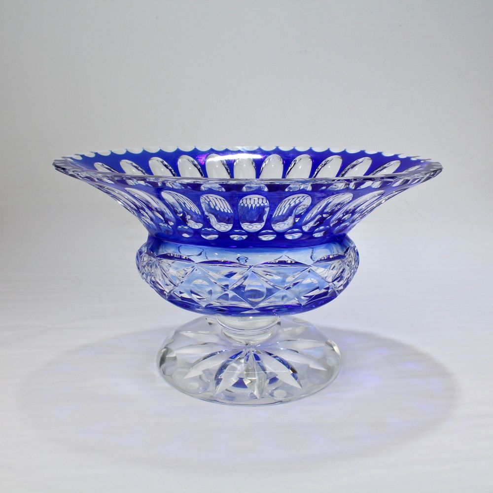 Vintage Cobalt Blue Cut To Clear Overlay Footed Gl Bowl - Vase ... on