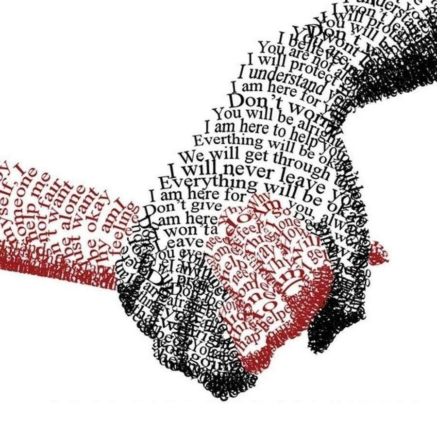 hands made out of words joining eachother