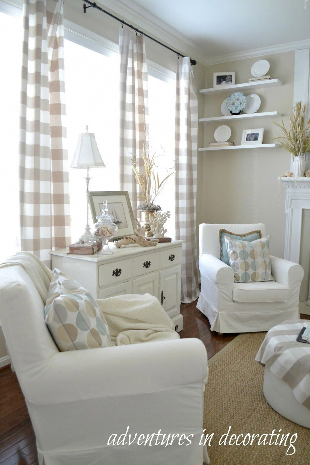 Hi friends! It escapes me how fast this Summer is going by! I feel like pumpkins will be replacing our seashells before we know it! ... #Beachcottagestyle #coastallivingrooms