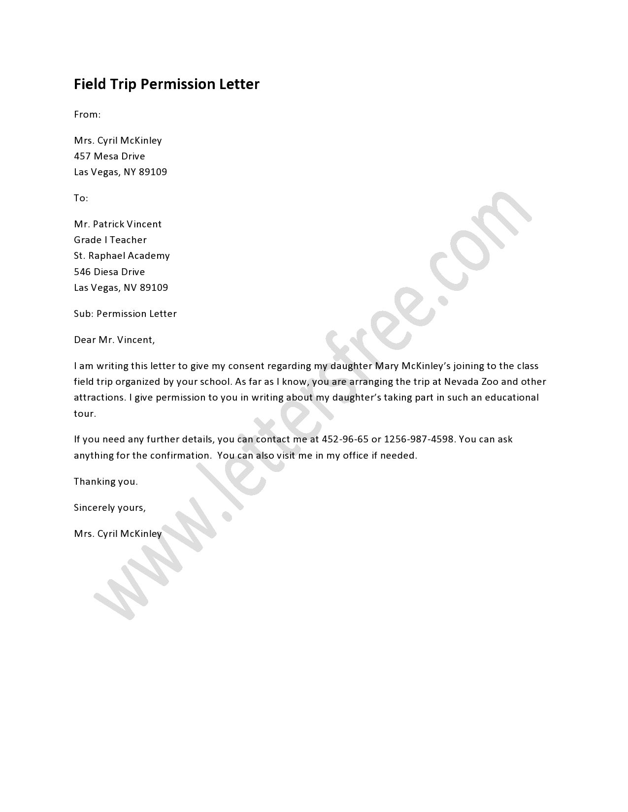 Field Trip Permission Letter Sample Permission Letters