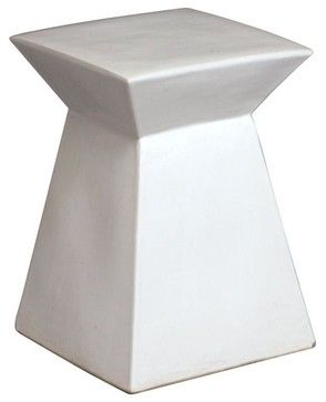 Square Ceramic Garden Stool/Table   Contemporary   Outdoor Stools And  Benches   Home Infatuation