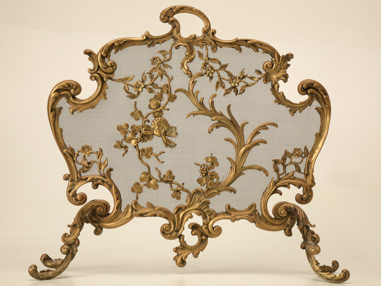 Antique French Rococo Bronze Fireplace Screen French Rococo