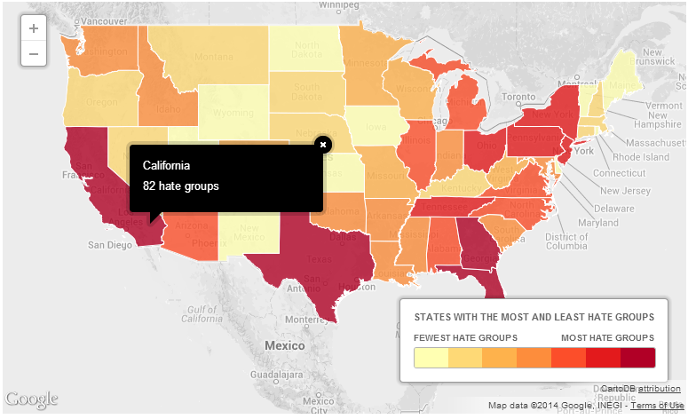 Interactive Heat Map Active Hate Groups In USA Custom Google - Map of hate groups in us