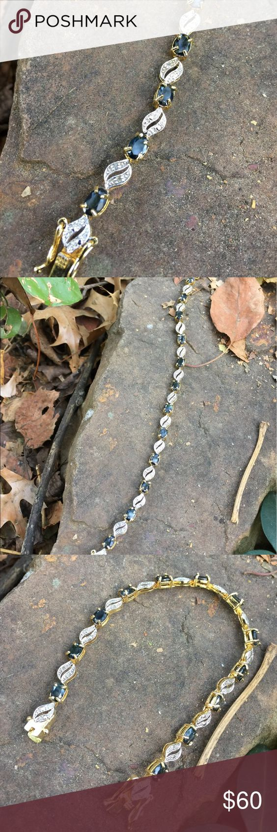 Blue sapphire bracelet nwot sterling silvergold plated sapphire