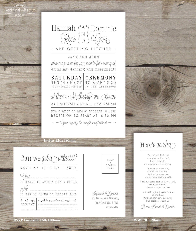 Modern Typo Rustic Printable Wedding By WeddingInvitesWA