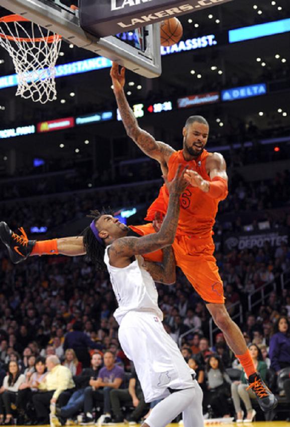 Los Angeles Lakers Center Jordan Hill 27 Fouls New York Knicks Center Tyson Chandler 6