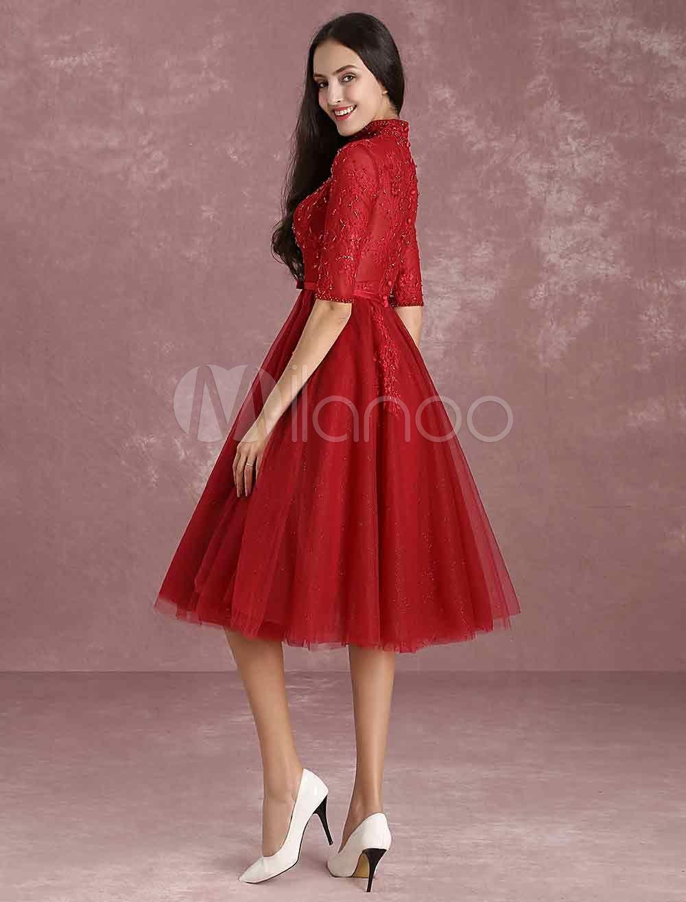 43b92adb86 Burgundy Homecoming Dress Tulle Short Prom Dresses Mandarin Collar Half  Sleeve Button Lace Applique Beading Bow Sash A Line Tea Length Cocktail  Dress ...