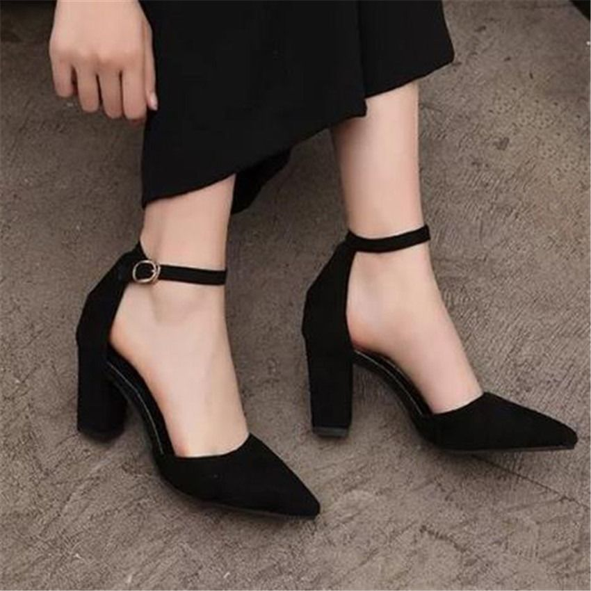 0f3d6dc006a9 Pointed Toe Suede Block Mid Heel Pumps Ankle Strap Womens Sandals Prom Shoes  7cm Black