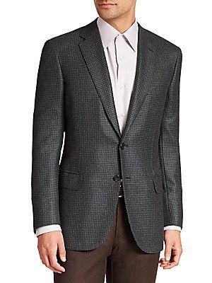 Brioni Herringbone Cashmere & Silk Jacket - Green - Size