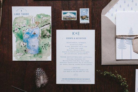 rustic and woodland letterpress wedding invitation lake tahoe pines