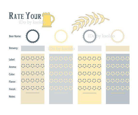 Beer Tasting Scorecards Printable Beer Tasting Rating Sheet Score Card For 4 Beers Home Style Beer Tasting Beer Tasting Birthday Beer Tasting Parties