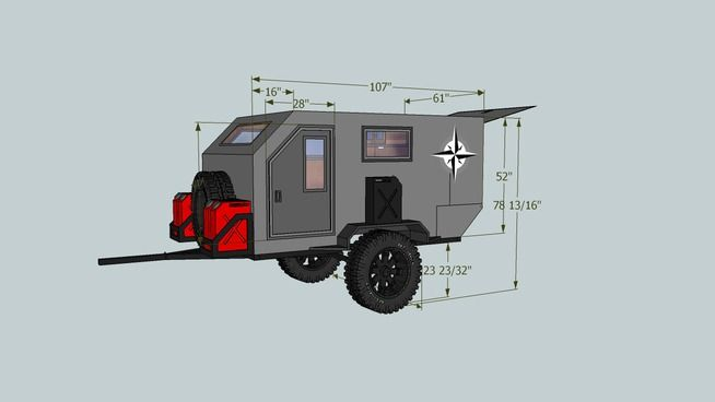 Large preview of 3D Model of Offroad Teardrop Trailer | Camp