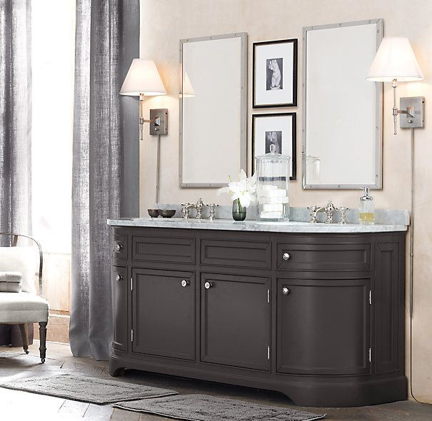 Custom Bathroom Double Vanities restoration hardware style bathroom vanities | restoration