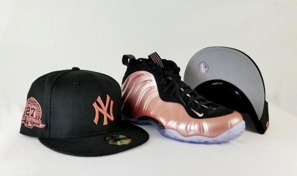 59966aebf0de7 Matching New Era New York Yankees 59Fifty Fitted Hat for Nike Foamposite  Elemental Rose Foams
