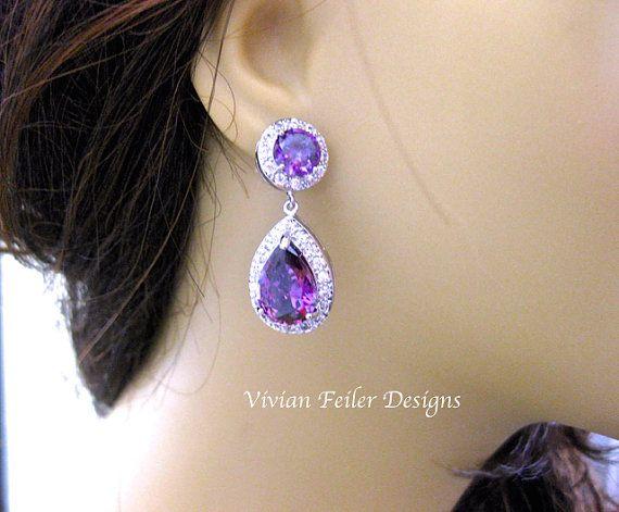 Purple Wedding Earrings Bridal Violet Amethyst Tear Drop Prom Jewelry Cubic Zirconia Pageant