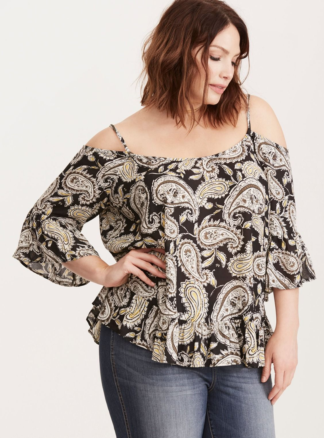 Paisley Print Crepe Ruffle Cold Shoulder Top/ Plus Size Clothing / TORRID