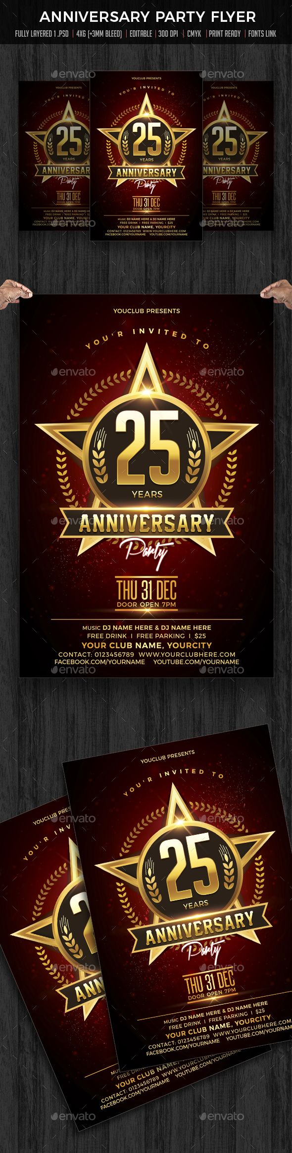 Anniversary Party Flyer Template Psd  Flyer Templates