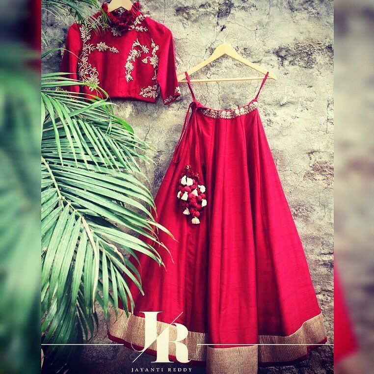 Jayanti absolute favorite from this collection! A fiery red lehenga with an embellished ruffle collared crop top!    Contact  on +917330687770 or email  on jayantireddyofficial@gmail.com for enquiries and orders.