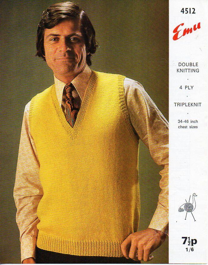 Mens Slipover Knitting Pattern Pdf Download Mens Pullover V Neck