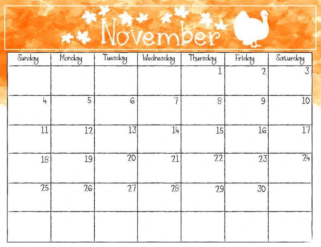 November 2018 Monthly Calendar November Calendar November