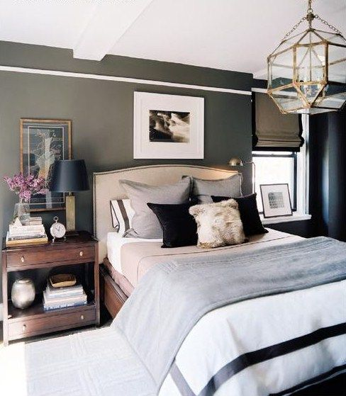 Masculine Master Bedroom: Charcoal Walls, White Bedding With Brown Furniture