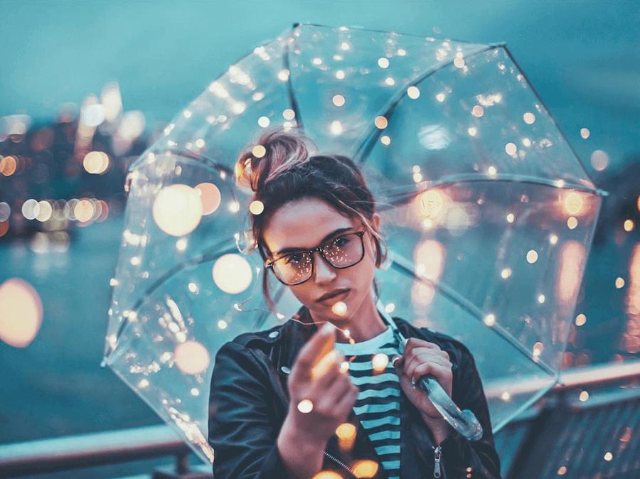 Clear Umbrella with Fairy Lights #clearumbrella
