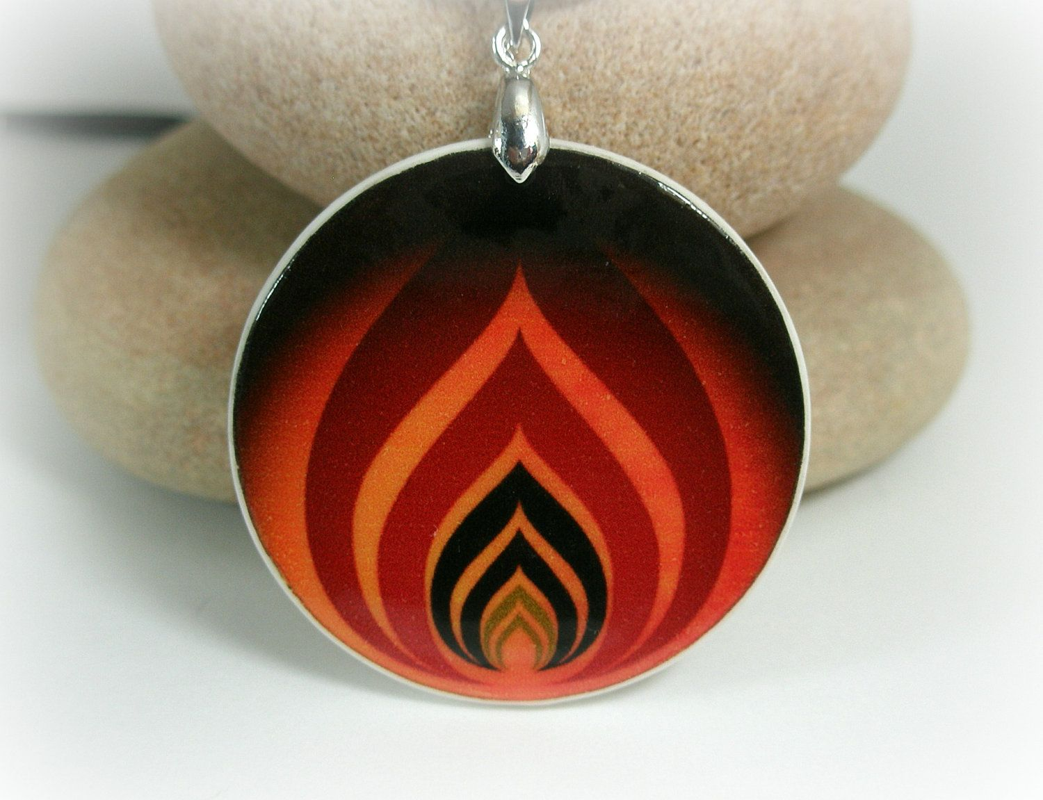 The Levels of Flame, Vector Art Polymer Clay Necklace. $12.00, via ...