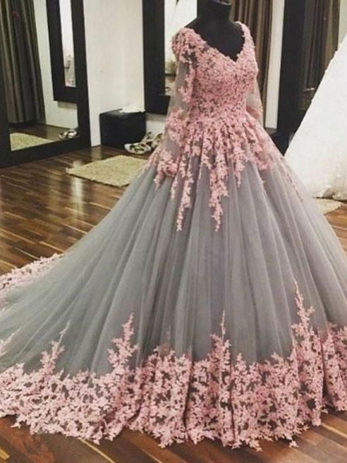 Ball Gown Grey tulle with Pink Lace Appliqued Long Sleeves ...