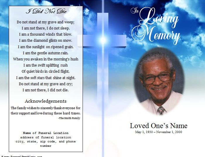 Single Fold Cross Memorial Program  Free Add Funeral And Template