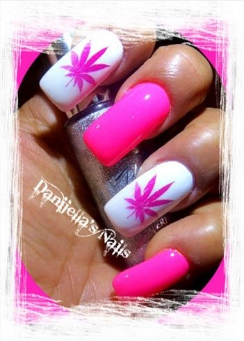 Pink Marijuana Nails By Danijelladavis Nail Art Gallery