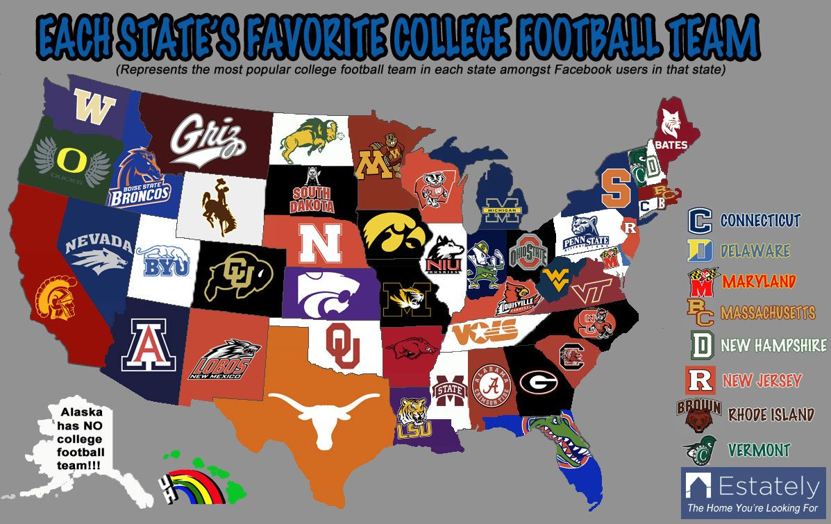 Ncaa Football Map But We Knew Alabama Was The Best Team In The State College Football Teams Ncaa Football Team Colors