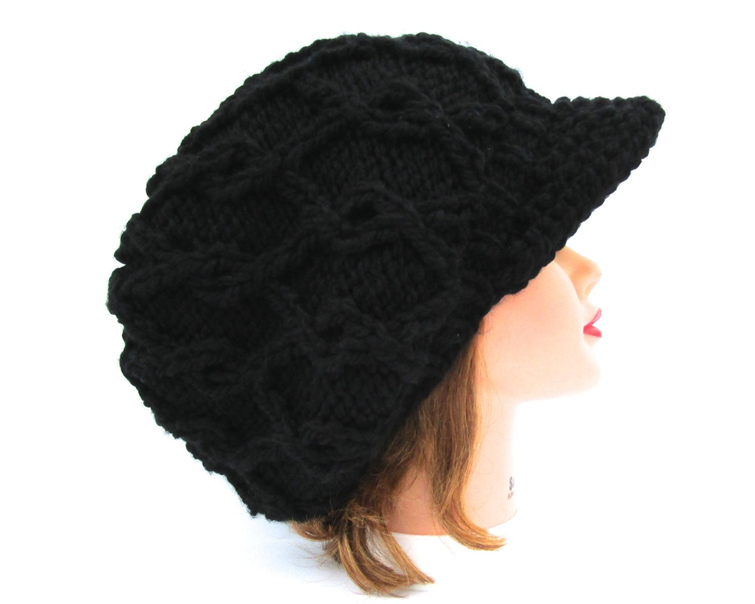 Black Newsboy Hat Cable Knit Cap Women S Slouchy Hat
