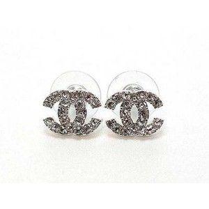 White Gold Plt Coco Chanel Designer Swarovski Crystal Stud Earrings By Celebritydiva