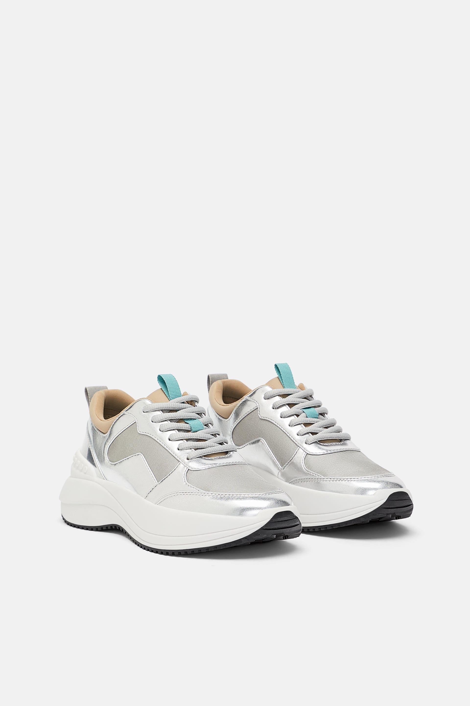 Zara Laminated Sneakers Metallic Sneakers Sneakers Shiny Shoes