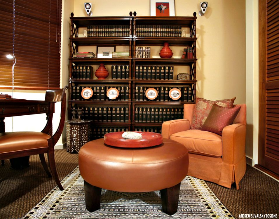 "TELL YOUR STORY. The composition in this shot tells this room's story: a simple, library-like space for the owner, an attorney, used both as an office and a guest room. The teak desk and bookcases are consistent with a classic Colonial style typical of the Caribbean islands where this home is located. Find personal touches like these to contribute to your design. This is truly what makes it ""your home"". www.suvalskydesigns.com"