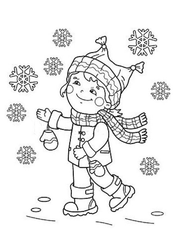 Coloriage Neige.Coloriage Enfant Et Flocons De Neige Coloring Pages Color