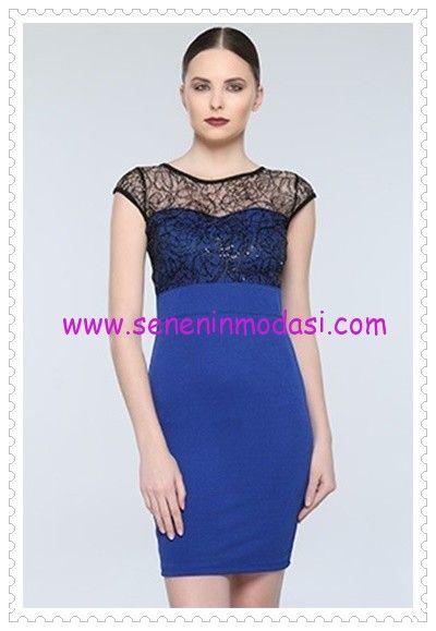 Tozlu Saks Mavisi Pul Detayli Elbise 20 Tl Elbise The Dress Moda Stilleri