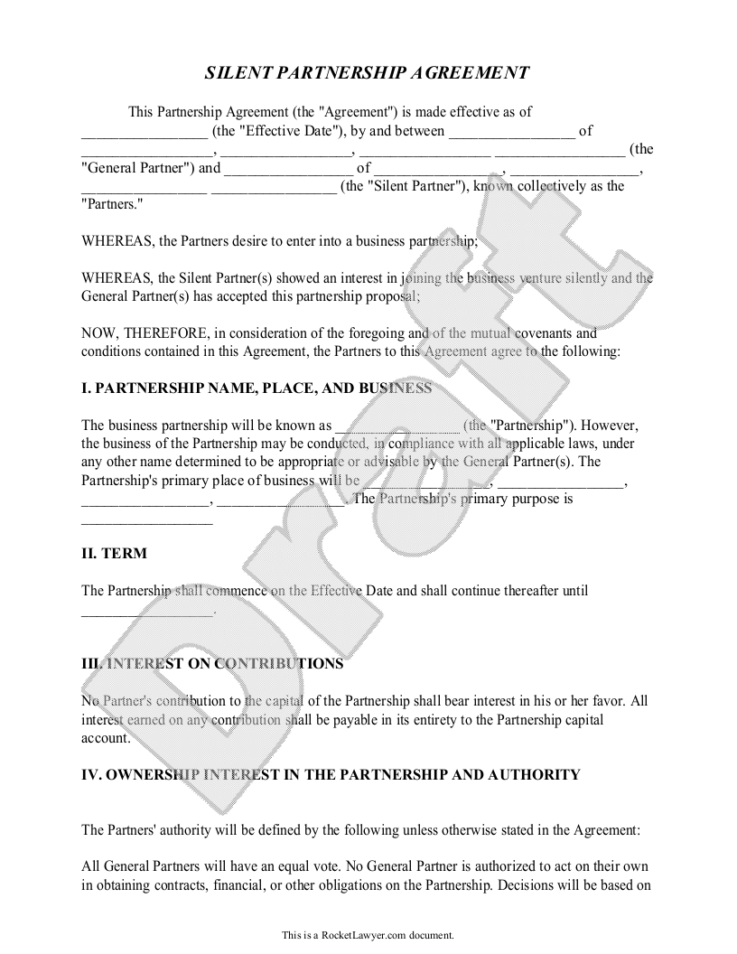 Silent Partnership Agreement Template With Sample  Partnership