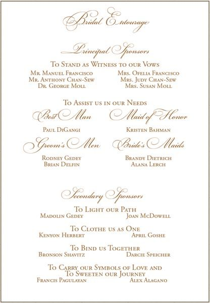Filipino Wedding Sponsors On Invite Wedding Invitation Layout