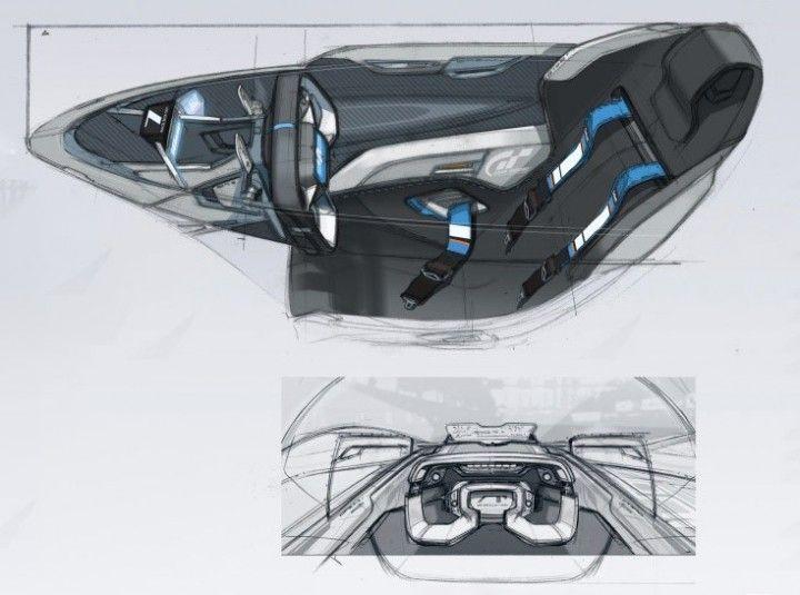 Alpine Vision Gran Turismo Concept Interior Design Sketches By