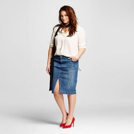 8ff5e8845ca Women s Plus Size Denim Pencil Skirt - Who What Wear™   Target ...